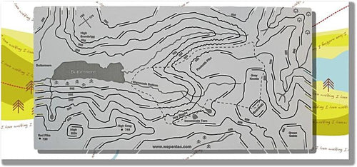 Buttermere and Hay Stacks contoured map displayed on greeting card