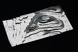 Pen-y-ghent Wapenmap stainless steel contoured relief map features the Pennine Way, Horton in Ribblesdale, Hull Pot, Plover Hill, Skirfare, Pen-y-ghent Gill