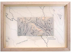 Yorkshire 3 Peaks Challenge Wapenmap stainless steel contour map Pen-y-ghent, Ingleborough, Whernside, Horton in Ribblesdale, Plover Hill, Ribble, Doe and Twiss