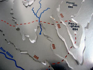 Yorkshire 3 Peaks Challenge uphill towards Pen-y-ghent on 3d contour relief map