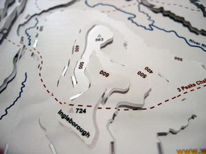 Yorkshire 3 Peaks Challenge uphill and over Ingleborough on 3d stainless steel contour relief map