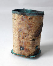 Woodland Work #1 vessel height 170mm diameter 130mm found birch bark, patinated copper, silver plated brass and stainless steel sculptural vessel, mindful vessel, thoughtful sculpture, mindful reflective artwork, art, design