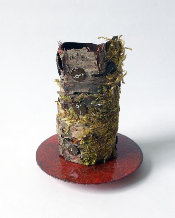 Woodland Work #1 vessel height 100mm diameter 90mm found birch bark, enamelled copper, silver plated brass and stainless steel sculptural vessel, mindful vessel, thoughtful sculpture, mindful reflective artwork, art, design