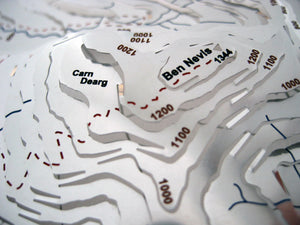 Walk to the summit of Ben Nevis - 3D stainless steel contoured map sculpture