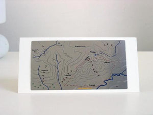 Hand painted Blencathra Wapenmap map displayed on greeting card