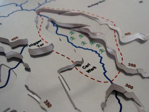 three dimensional stainless steel map showing contours of Burbage Edge