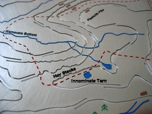 Innominate Tarn, Hay Stacks, Warnscale Bottom, Fleetwith Pike stainless steel contoured map