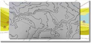 Lathkill Dale Wapenmap stainless steel contoured map features a circular walk that includes Youlgrave and Alport. Shows rivers, bridges, forests, trig points.