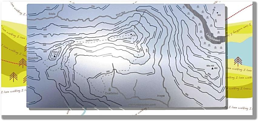 Mam Tor and Lose Hill Wapenmap stainless steel contoured map Castleton, Lose Hill, Hollins Cross, Mam Tor Hope, Edale, Win Hill, Ladybower reservoir, River Noe.