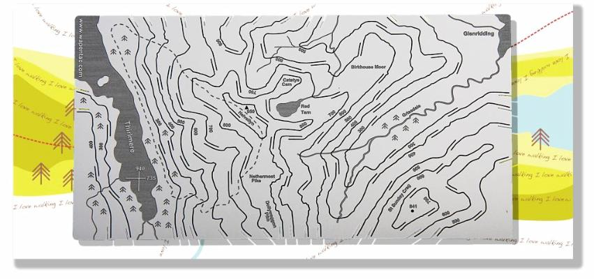 Helvellyn stainless steel map. Send it flat and make it 3D