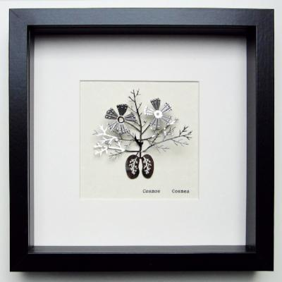 Cosmea Cosmos (single) botanical illustration in stainless steel. Three dimensional floral drawing mounted on parchment paper and framed in a black box frame