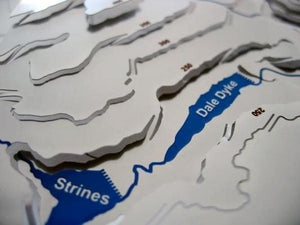 stainless steel contoured map showing Strines and Dale Dyke reservoirs