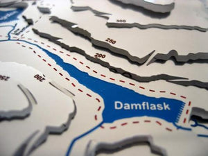 circular walk around Damflask reservoir contoured metal map