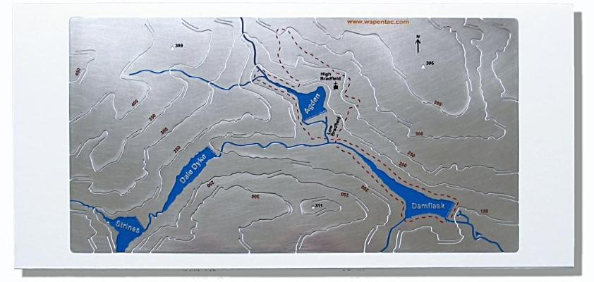 Damflask, Agden and Strines stainless steel contour Wapenmap map. Walk around High Bradfield, Low Bradfield, Damflask & Agden reservoirs. Dale Dyke reservoir