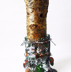 sculptural vessel made of enamelled copper with a found birch bark insert. Piece to celebrate a wonderful walk in the woods. A reflective and mindful piece
