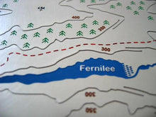 Fernilee Reservoir in Goyt Valley, Peak District National Park contour metal map