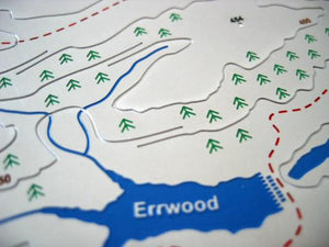 Detail - Errwood reservoir in Goyt Valley on stainless steel contoured map