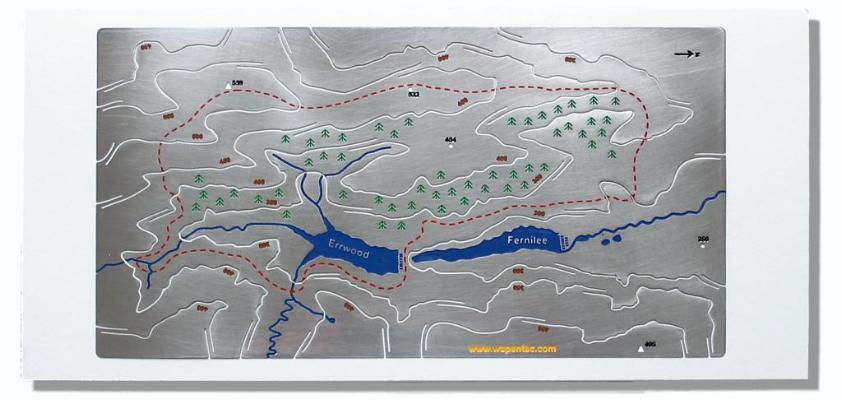 Goyt Valley Wapenmap stainless steel metal contoured three dimensional map. Circular walk around Errwood and Fernilee reservoirs. Peak District National Park