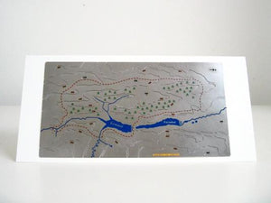 Goyt Valley Wapenmap stainless steel metal contoured three dimensional map, mounted on greeting card. Circular walk around Errwood and Fernilee reservoirs. Peak District National Park