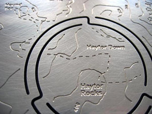 Haytor Downs and Haytor Rocks detail on stainless steel map'n'lite map