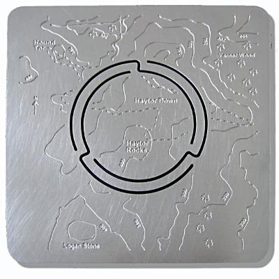 Haytor & Hound Tor stainless steel Map'n'lite. Flat map is formed into 3d night light holder walk around Haytor Down, Haytor Rocks, Logan Stone, Yarner Wood.