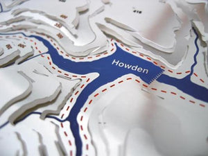 Howden Reservoir detail on 3d stainless steel contoured map