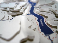 Derwent Reservoir detail on 3d stainless steel contoured map