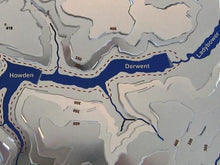 Howden, Derwent and Ladybower Reservoirs detail on 3d stainless steel contoured map