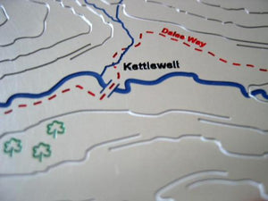 Dales Way Route through Kettlewell on stainless steel contour map