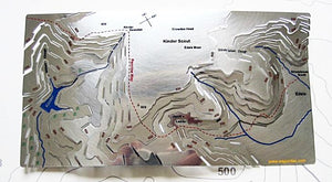 Kinder Scout Wapenmap stainless steel contoured map Pennine Way, Kinder Downfall, Jacob's Ladder, Grindsbrook Booth. Mass Trespass, William Cough, Crowden Head, Edale, Kinder Reservoir.