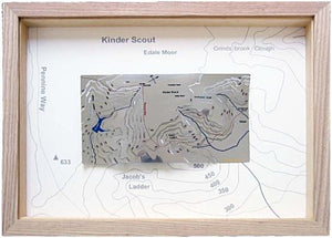 Kinder Scout stainless steel contour map Pennine Way, Kinder Downfall, Jacob's Ladder, Grindsbrook Booth. Mass Trespass, William Cough, Crowden Head, Edale, Kinder Reservoir.