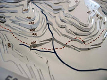 Pennine Way descending from Kinder Scout via Jacob's Ladder detail on stainless steel contoured map