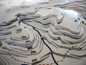 Contoured hillside rising towards Kinder Scout on contoured stainless steel map