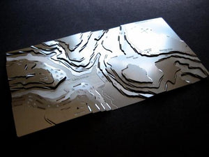 Stanage Edge & Ladybower Wapenmap stainless steel contoured map sculpture features a walk along The Edge. Crook Hill, Win Hill, Moscar Moor and Bamford Edge