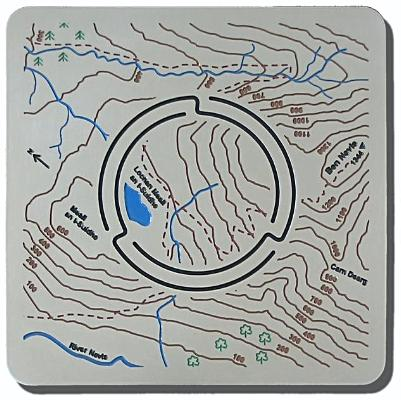 Ben Nevis Map'n'lite 2D to 3D map - night light holder features Meall an t-Suidhe, Carn Dearg, Lochan Meall an t-Suidhe, Meall Cumhann, River Nevis in Scotland