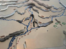 Pennine Way via Malham Cove, passes Malham and runs by the side of River Aire on 3D contoured stainless steel map