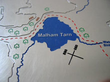 Pennine Way past Malham Tarn on metal contoured relief map