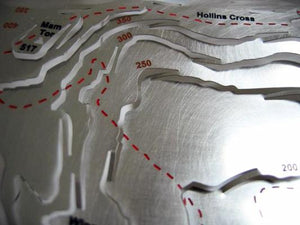 Mam Tor and Hollins Cross detail on contoured Peak District map