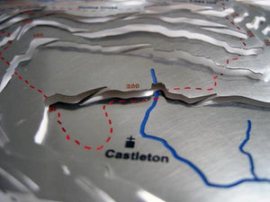 Castleton below the Great Ridge contoured map detail