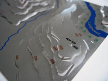 Win Hill overlooking Ladybower Reservoir detail on contoured stainless steel wapenmap map