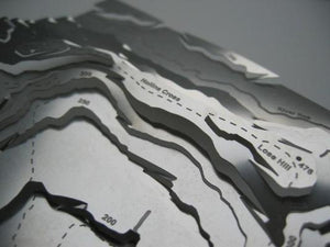 The Great Ridge in the Peak Distrist include Lose Hill, Hollins and Mam Tor shown on stainless steel contoured wapenmap map