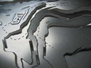 Mam Tor and Hollins Cross in detail shown on contoured stainless steel  wapenmap map