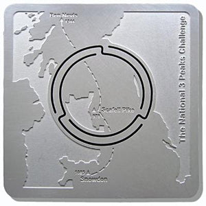National 3 Peaks Challenge Map'n'lite 2d / 3d map shows the route, peaks and heights of Ben Nevis, Scafell Pike & Snowdon / Yr Wyddfa. Momento Achievement Award