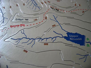 Beacons Way walk via Pen Y Big and Cribyn and above Upper Neuadd in Brecon Beacons, Wales map