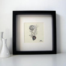Rose Rosa (single) botanical illustration in stainless steel. Three dimensional floral drawing mounted on parchment paper and framed in a black box frame.