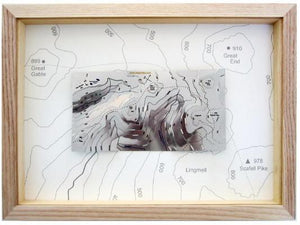 Scafell Pike and Great Gable contoured metal Wapenmap map. Pillar, Kirk Fells, Great End, Lingmell, Hay Stacks, Innominate Tarn, Mosedale and Lingmell Beck.
