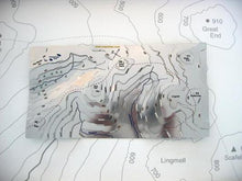 Scafell Pike and Great Gable contoured stainless steel Wapenmap map. Pillar, Kirk Fells, Great End, Lingmell, Hay Stacks, Innominate Tarn, Mosedale and Lingmell Beck.