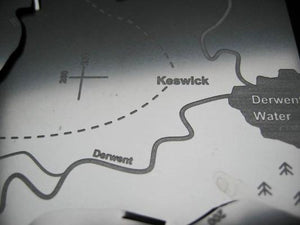 Map showing Keswick, Derwent Water in the Lake District