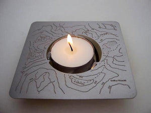 stainless steel 2d to 3d night light holder featuring a map. Flat pack easy to post