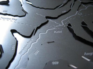 Pennine Way crosses Birkdale Beck at Keld detail on stainless steel contour relief wapenmap map
